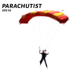Parachutist from triangles. Low poly skydiver. Vector illustration.