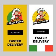 Italian chef. Pizza maker prepares a pizza. Vector logo.