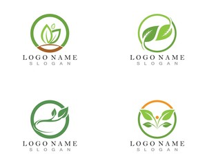 leaf green nature logo and symbol template