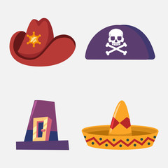 Hat of cowboy, sombrero, pirate and pilgrim vector cartoon flat set of headdresses isolated on white background.