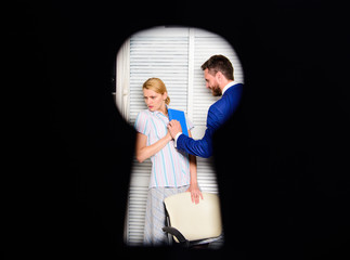 Boss aggressive threatening. Witness of crime in office. If you are witness of rights violation. View through keyhole. Woman suffer from violence in office. Worker lady suspected in rights violation