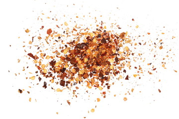 Crushed red cayenne pepper, dried chili flakes and seeds pile isolated on white background, top view