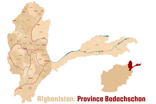 Large and detailed map of the afghan province of Badachschan.