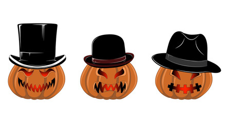 Set of vector images of pumpkins in hats.