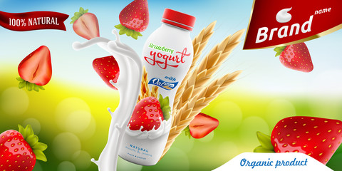 Strawberry Drinking yogurt bottle with oats on bright summer background branding ready commercial flyer realistic illustration