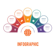 Colorful semicircle and circles.  Elements of Infographics Conceptual Cyclic Processes for 7 Positions Possible to Use for Workflow, Banner, Diagram, Web design, Timeline, Area chart,Number options.