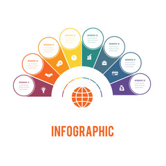 Colorful semicircle and circles.  Elements of Infographics Conceptual Cyclic Processes for 8 Positions Possible to Use for Workflow, Banner, Diagram, Web design, Timeline, Area chart,Number options.