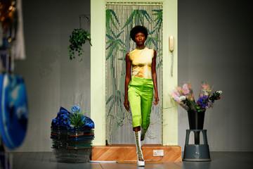 Models present creations at the Richard Malone catwalk show at London Fashion Week Women's, London