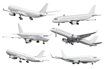 Set of six aircraft isolated from the white background.