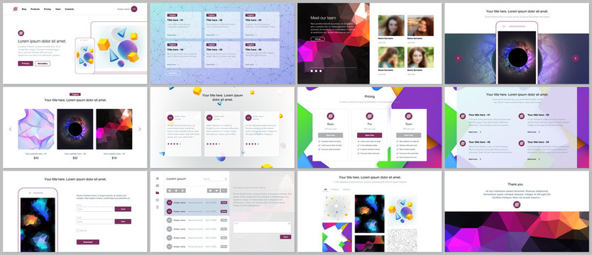 Vector templates for website design, minimal presentations, portfolio with vibrant geometric backgrounds made simple shapes in hipster style. UI, UX, GUI. Design of headers, features page, blog etc.