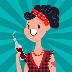 Cute pin up girl with tattoo drink soda water. Vector cartoon woman character in pop art vintage style isolated in background.