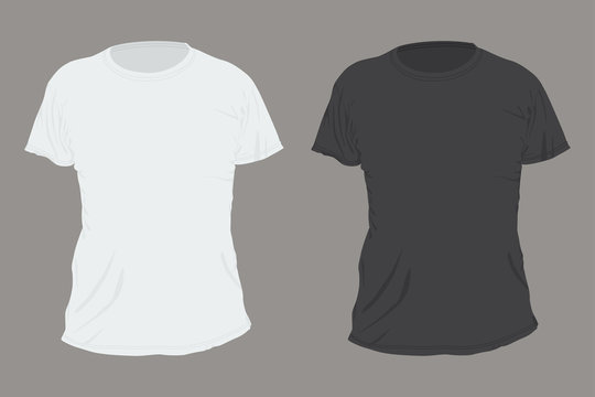 Black and white T-shirt front view vector flat template isolated on background.