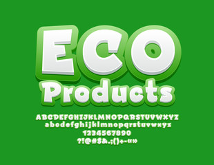 Vector Logo Eco Products with Bright Font. Green and White Play Children Alphabet.