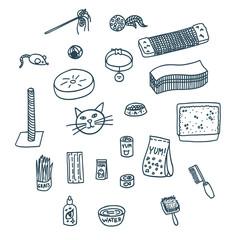 Set of cat accessories doodles, unfilled