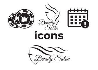 Event add delete progress icons and Poker club, casino sign set. Beautiful woman logo