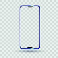 Smartphone with a transparent screen, blue, vector