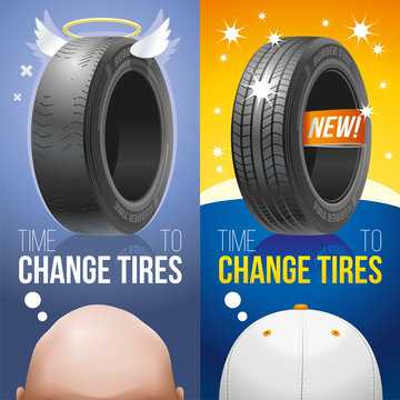 It is time to change old bald tires for new! Two vertical advertizing banners: old and new tires.