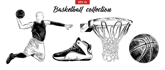 Vector engraved style illustration for posters, decoration and print. Hand drawn sketch set of basketball player, shoe, ball and basket isolated on white background. Detailed vintage etching drawing.