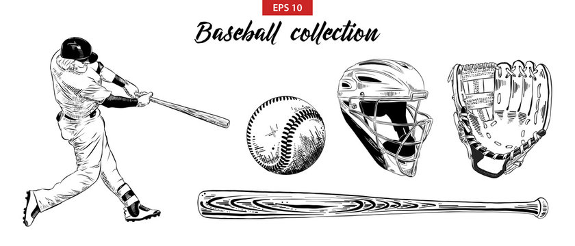 Vector engraved style illustration for posters, decoration. Hand drawn sketch set of baseball player, helmet, glove, ball and bat isolated on white background. Detailed vintage etching drawing.