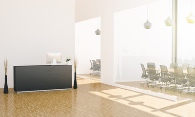 office lobby with reception desk and meeting rooms