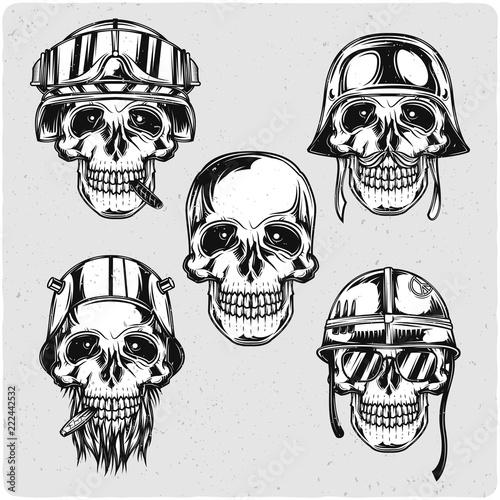 Soldier skulls set. Black and white illustration. Isolated on light ...