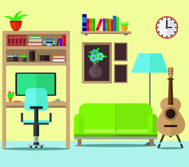 Living room with sofa, bookcase, guitar and computer. Vector set.