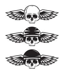 Motorcycle skulls set with helmet and wings. Heavy Metal Vintage Biker design