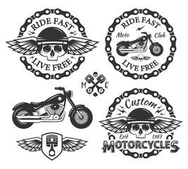 Skull custom motorcycles shop Badges or Labels set With wings, chain, piston, shield and bike.