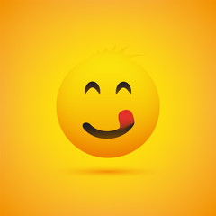 Smiling Emoji with Stuck Out Tongue - Simple Shiny Happy Emoticon on Yellow Background - Vector Design