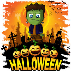 Halloween Design template with Frankenstein. Vector illustration.
