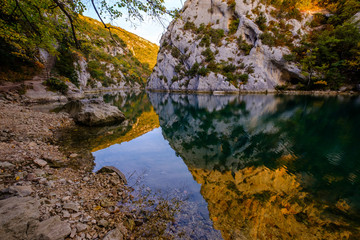 Basses Gorges du Verdon en automne. Quinson. Alpes de Haute Provence, France.