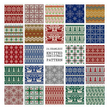 Set of winter seamless backgrounds