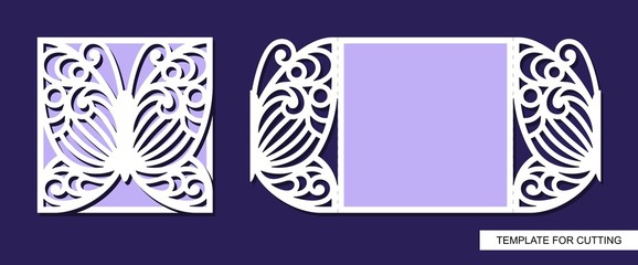 Silhouette of greeting card with butterfly. Template for laser cutting, die or paper cut. Can used for wedding invitation, valentines day or birthday. Save the date. Lace ornament. Vector.