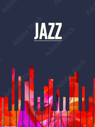 Jazz Music Background With Colorful Piano Keys Vector