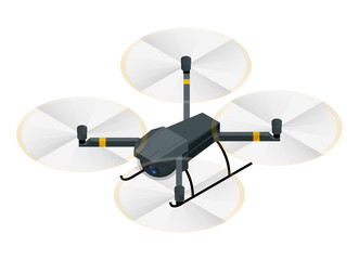 Isometric electric drone with video and photo camera for aerial photography isolated on white background vector illustration