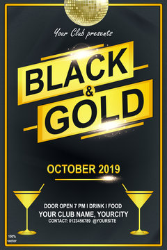 Black & Gold Flyer Party flayer. Vector EPS 10 vintage ivitation card design template. Vintage illustration template for web, poster, flyer, invitation to party.
