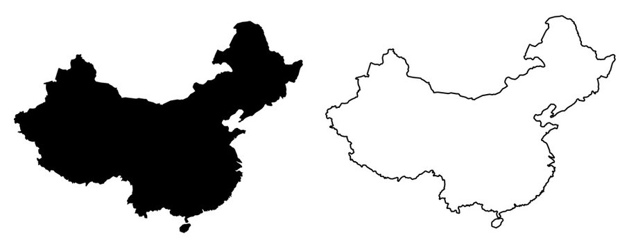 Simple (only sharp corners) map of China vector drawing. Filled and outline version
