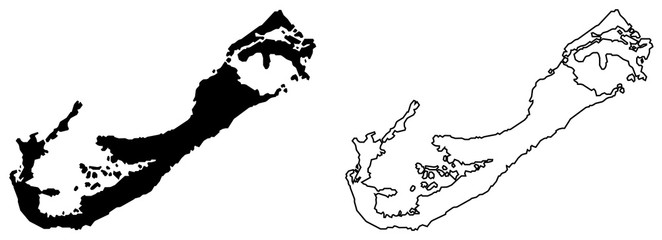 Simple (only sharp corners) map of Bermuda vector drawing. Mercator projection. Filled and outline version.