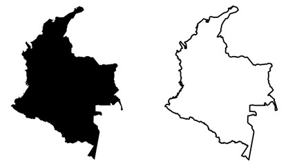 Simple (only sharp corners) map of Colombia vector drawing. Mercator projection. Filled and outline version.