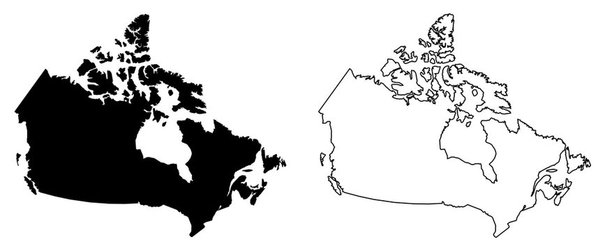Simple (only sharp corners) map of Canada vector drawing. Mercator projection. Filled and outline version.
