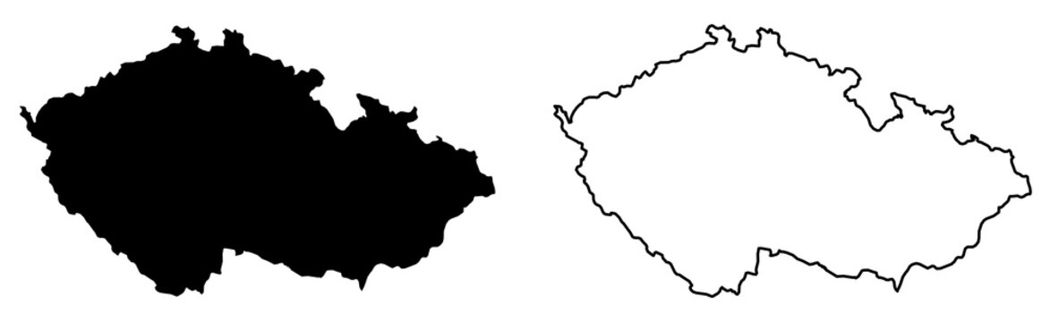 Simple (only sharp corners) map of Czechia (Czech Republic) vector drawing. Mercator projection. Filled and outline version.