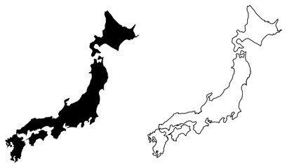 Simple (only sharp corners) map of Japan vector drawing. Filled and outlined version. Fototapete