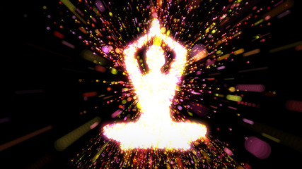 Female figure as silhouette in yoga pose with streams of radiating energy