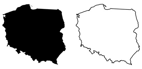 Simple (only sharp corners) map of Poland vector drawing. Mercator projection. Filled and outline version. Wall mural