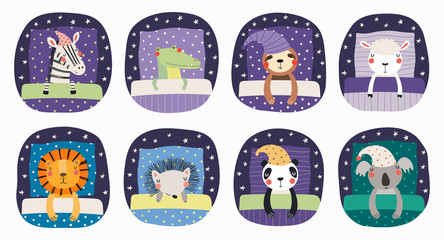 Foto auf Leinwand Abbildungen Set of cute funny sleeping animals in nightcap, with pillows, blankets. Isolated objects on white background. Hand drawn vector illustration. Scandinavian style flat design. Concept for children print