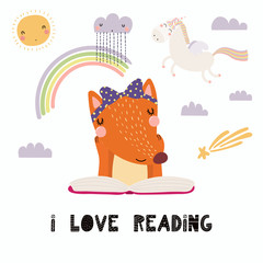 Hand Drawn Vector Illustration Of A Cute Funny Lion Reading