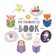 Foto op Plexiglas Illustraties Set of cute funny animals with books, bunny, sloth, fox, pig, with quote. Isolated objects on white background. Hand drawn vector illustration. Scandinavian style flat design. Concept children print.