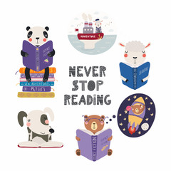 Foto auf Leinwand Abbildungen Set of cute funny animals with books, bear, panda, sheep, dog, with quote. Isolated objects on white background. Hand drawn vector illustration. Scandinavian style flat design. Concept children print.