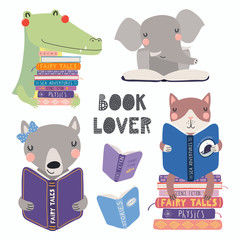Foto op Canvas Illustraties Set of cute funny animals with books, cat, wolf, crocodile, elephant, with quote. Isolated objects on white. Hand drawn vector illustration. Scandinavian style flat design. Concept for children print.
