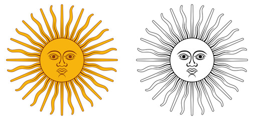 Sun of May - national emblem of Argentina and Uruguay. Yellow circle with human face, with 32 rays, 16 straight / wavy, representing Inti god. Color / black and white version.